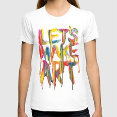 LET'S MAKE ART White LARGE Womens Fitted Tee