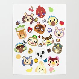 animal crossing cute villagers Poster