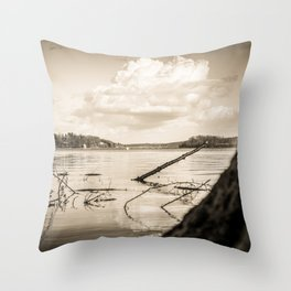 Cloudy Möhne Reservoir Lake 2 sepia Throw Pillow