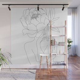 Minimal Line Art Woman Flower Head Wall Mural