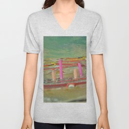 Green asteroid abstract painting hyperuranium place view illustration Unisex V-Neck