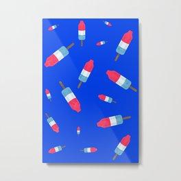 Popsicles - Retro Pattern - (cobalt blue background) Metal Print