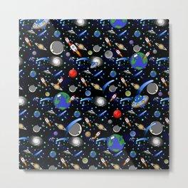 Galaxy Universe - Planets, Stars, Comets, Rockets Metal Print