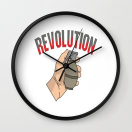 This is the awesome revolutionary Tshirt Those who make peaceful revolution THE REVOLUTION FIST Wall Clock