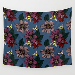 Dark Floral with Bees Wall Tapestry