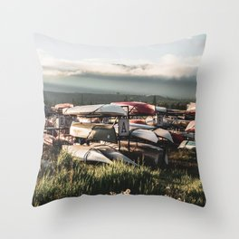 Alaskan Canoe // Storage in the Wilderness for the Adventureous in Spirit Throw Pillow