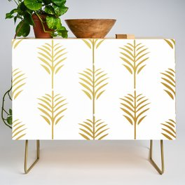 Golden Palm Leaves on White Credenza