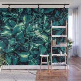 vintage style green leaves texture background Wall Mural