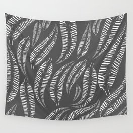 Abstract white bird feathers on a gray background or palm branches. Wall Tapestry