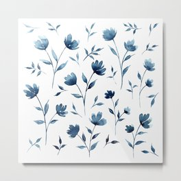 Blue flowers | Watercolor Pattern Metal Print