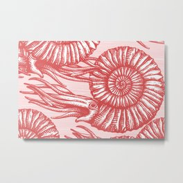 AMMONITE COLLECTION RED Metal Print