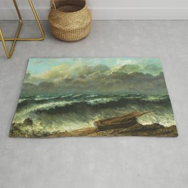 "Gustave Courbet ""The wave 1869 Philadelphia"" Rug"