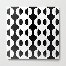 BLACK AND WHITE GEOMETRIC WAVES AND HALF CIRCLE Metal Print