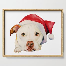 Christmas Pit Bull Terrier Dog with Santa Hat Serving Tray