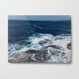 Waves hitting rocks, Clovelly Beach, NSW, Australia Metal Print
