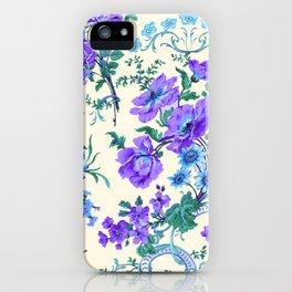 Teal, Blue, Green and Cream Floral iPhone Case