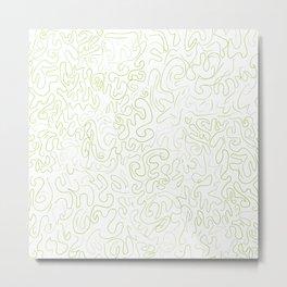 Freehand Doodling in Green Metal Print