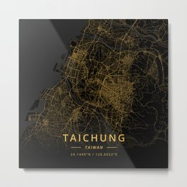 Taichung, Taiwan - Gold Metal Print