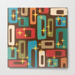 Retro Mid Century Modern Abstract Pattern 222 Metal Print
