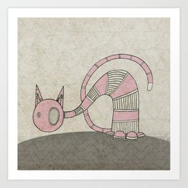Pink Curious Cat I Art Print