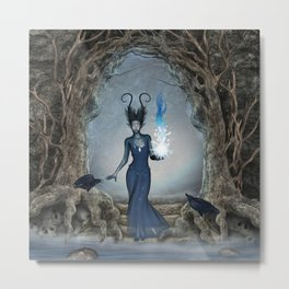 The dark fairy with crow Metal Print