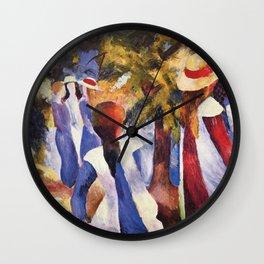 Girls Under Trees, August Macke, 1914 Wall Clock