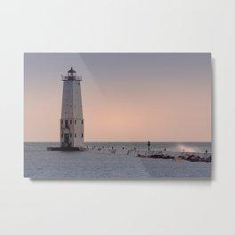 Breakwater Lighthouse Frankfort North Historic Navigational Aid Sailing Lake Michigan Beach House Quaint Town Horizontal Peaceful Photograph Metal Print