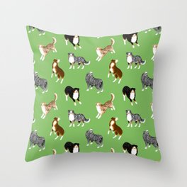 Australian Shepherd Pattern (Green Background) Throw Pillow
