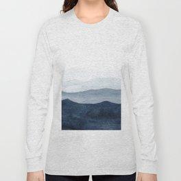 Indigo Abstract Watercolor Mountains Long Sleeve T-shirt
