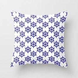 Ship Wheel (Navy Blue & White Pattern) Throw Pillow