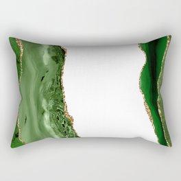 Beautiful Emerald And Gold Marble Design Rectangular Pillow