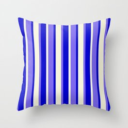 Medium Slate Blue, Blue, and Beige Colored Striped/Lined Pattern Throw Pillow