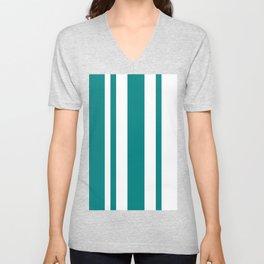 Mixed Vertical Stripes - White and Dark Cyan Unisex V-Neck