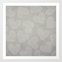 Canvas Design with Chic Heart Shapes and a Great Texture Art Print