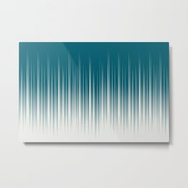 Off White and Tropical Dark Teal Inspired by Sherwin Williams 2020 Trending Color Oceanside SW6496 Minimal Frequency Line Art 2 Metal Print