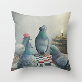 Checker Playing Pirate Pigeons Throw Pillow