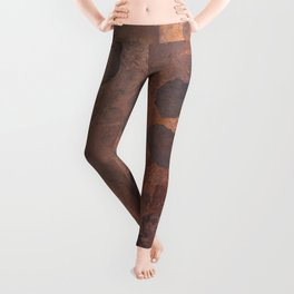 Tarnished, Stained and Scratched Copper Metal Texture Industrial Art Leggings