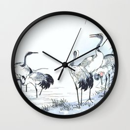 Antique Japanese Woodblock Print Art By Kono Bairei - Five Cranes Standing In The Swamp Water  Wall Clock