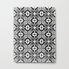 Moroccan Tile Pattern in Black and White Metal Print