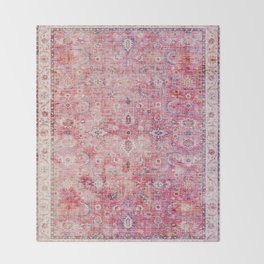 Pink Vintage Antique Oriental Traditional Moroccan Original Artwork Throw Blanket