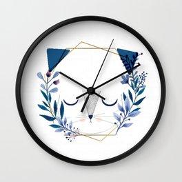 cat blue's Wall Clock