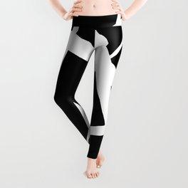 Geometric Line Abstract - Black White Leggings