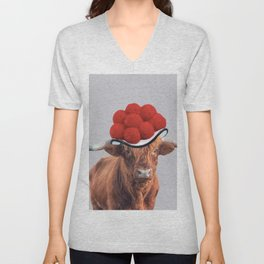 Highland Cow with German Black Forest hat Unisex V-Neck