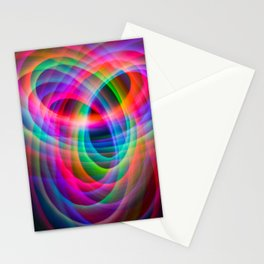 Spirograph rainbow light painting Stationery Cards
