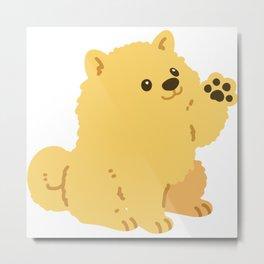 Flat colored fluffy Pomeranian waving hand Metal Print