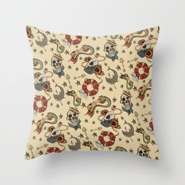 Navy Sailor Tattoo Pattern Throw Pillow