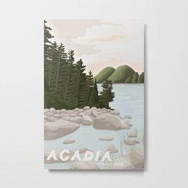 Acadia National Park, Maine, illustrated Metal Print