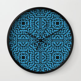 Tribal motif in blue and black Wall Clock
