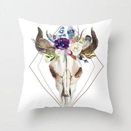 Modern geometric tribal floral bull skull Throw Pillow