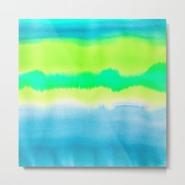 Watercolor tie dye wash in blues and greens Metal Print